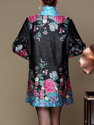 Asymmetrical Long Sleeve Shawl Collar Casual Crinkled Printed Coat_11