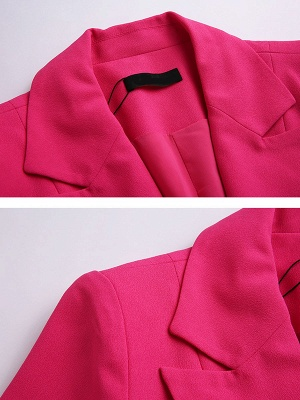 Rose Lapel Work A-line Buttoned Solid Long Sleeve Coat_6