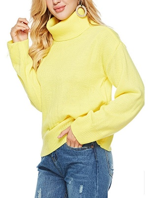 Solid Long Sleeve Casual Turtleneck Shift Sweater_2