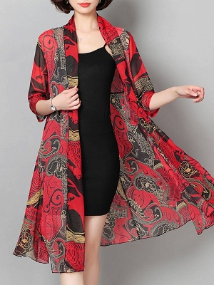 3/4 Sleeve Floral Swing Casual Printed Chiffon Coat_1