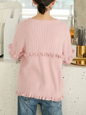 Crew Neck Casual Solid Long Sleeve Sweater_4