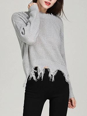 Shift Long Sleeve Bateau/boat neck Casual Fringed Sweater_2
