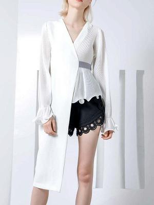 Frill Sleeve Casual Asymmetrical V neck Ruffled Folds Coats_9