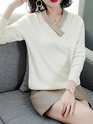 Long Sleeve Solid Casual Piping Sweater_2