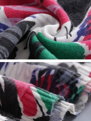 Multicolor Casual Bateau/boat neck Sweater_5