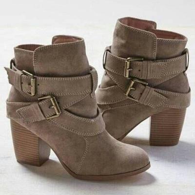 Chunky Heel Daily Buckle Suede Elegant Boot_3