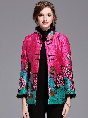Paneled Crinkled Fluffy Buttoned  Printed Coat_1