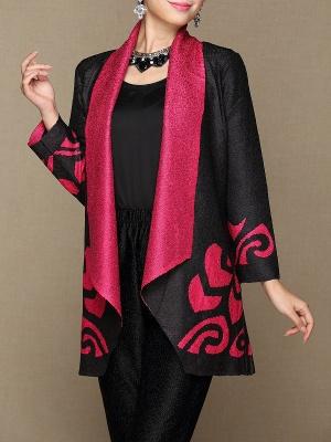 Rose Shawl Collar Long Sleeve Asymmetrical Crinkled Color-block Coat_1