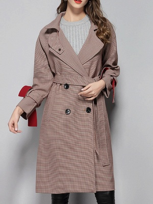 Lapel Work Printed Buttoned Pockets Houndstooth Coats_1