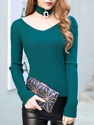 Green Long Sleeve Sheath Solid Sweater_1