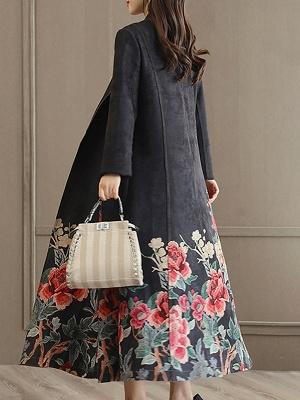 Casual Long Sleeve Pockets Floral-print A-line Coat_8