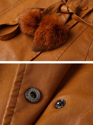 Long Sleeve Leather Work Casual Coat_8
