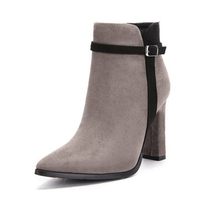 Suede Buckle Chunky Heel Pointed Toe Boot_7