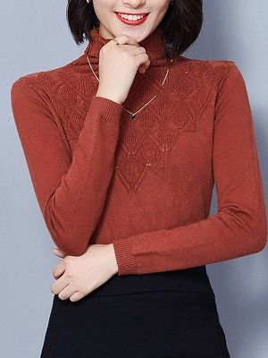 Sheath Turtleneck Long Sleeve Casual Embossed Sweater_2