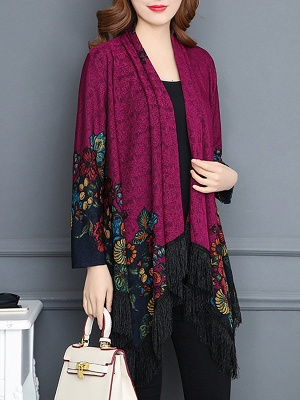 Floral Casual Long Sleeve Coat_2