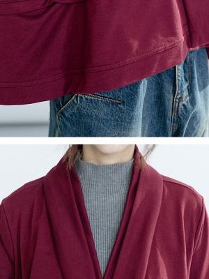 Solid Long Sleeve Casual Paneled V-Neck Coat_7