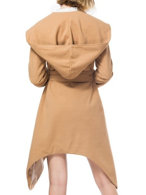 Long Sleeve Hoodie Asymmetrical Solid Casual Coat_4