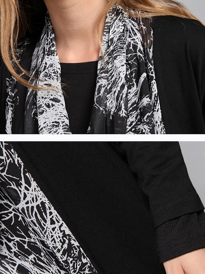 Casual Abstract Long Sleeve Shift Printed Coat_7
