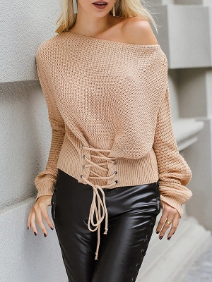 Lace up Long Sleeve Casual Crew Neck Sweater_1