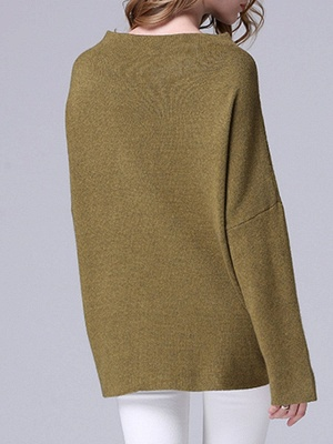 Olive Green Slash Neck Knitted Long Sleeve Sweaters_3
