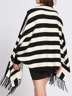 Striped Fringed Shift Long Sleeve Elegant Sweater_7
