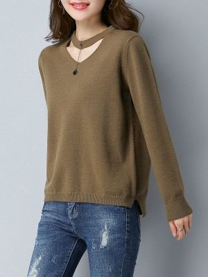 Choker Neck Long Sleeve Solid Sweater_10