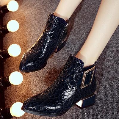 Zipper  Chunky Heel Embossing Boots_6