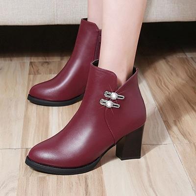 Chunky Heel Rhinestone Daily Pointed Toe Zipper Elegant Boots_1