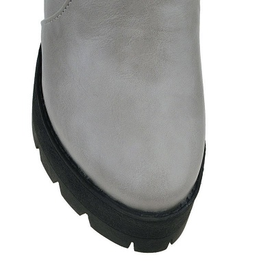 Chunky Heel Daily Zipper Round Toe Boots_15