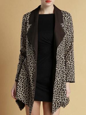 Brown Shawl Collar Asymmetrical Leopard Print  Coat_1