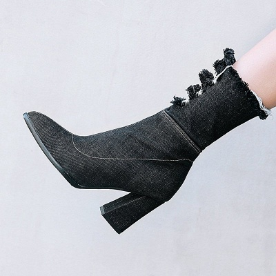 Women's Boots Dark Blue Pointed Toe Chunky Heel Boots_6