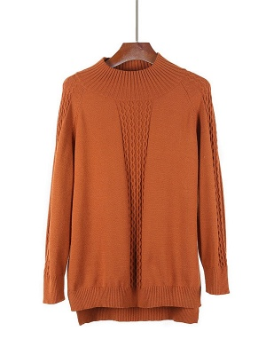 Casual Cable Long Sleeve Crew Neck Sweater_2