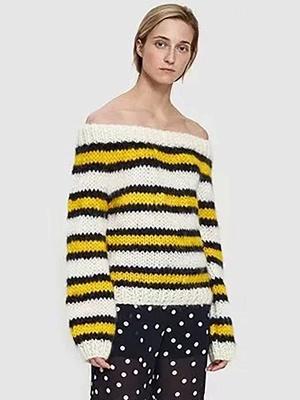 Striped Printed Bateau/boat neck Casual Sweater_8