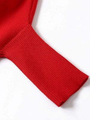Red Plain Fringed Batwing Knitted Casual Turtleneck Sweaters_9