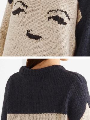Multicolor Pleated Shift Long Sleeve Plain Sweater_6