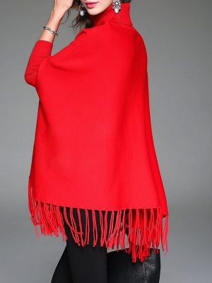 Red Plain Fringed Batwing Knitted Casual Turtleneck Sweaters_3