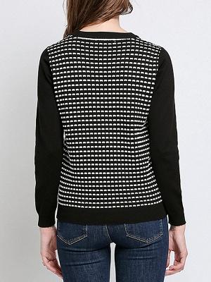 Black Long Sleeve Beaded Casual Crew Neck Sweater_3