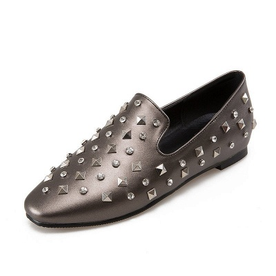 Rivet Daily Round Toe Chunky Heel Casual Loafers_8