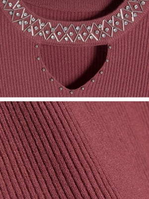 Solid Long Sleeve Casual Beaded Sweater_8
