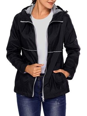 Shift Casual Long Sleeve Hoodie Zipper Pockets Solid Coat_5