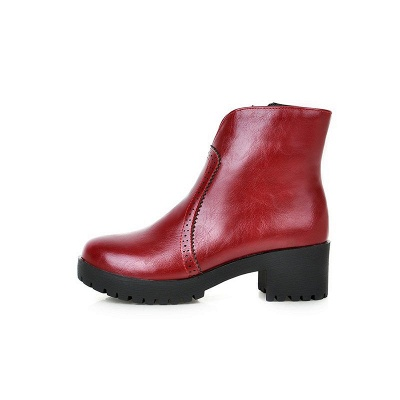 Fall PU Chunky Heel Round Toe Boot_9