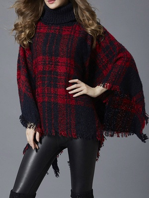 Casual V neck Batwing Sweaters_2