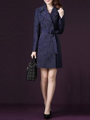 Blue Long Sleeve Blouson Buttoned Work Coat_5