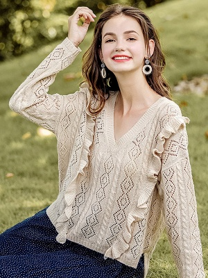 Apricot V neck Long Sleeve Geometric Cutout Sweater_7
