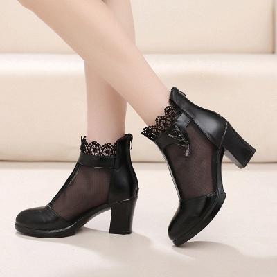 Chunky Heel Zipper Round Toe Elegant PU Boots_3