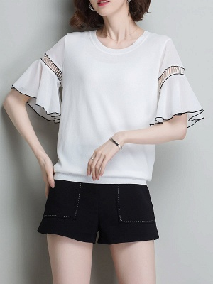 Casual Knitted Shift Frill Sleeve Binding Sweater_1