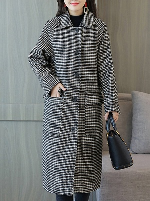 Black Houndstooth Casual Coat_1