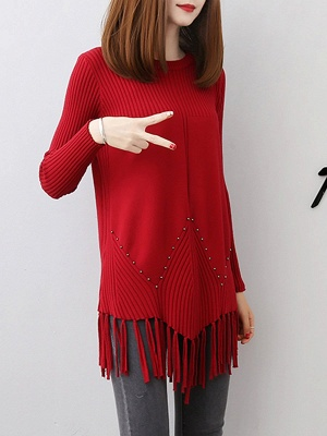 Casual Long Sleeve Crew Neck Sweater_1