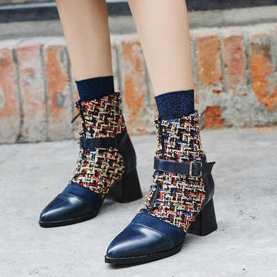 Daily Zipper Pointed Toe Buckle Chunky Heel Boots_4