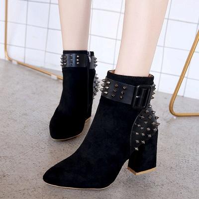 Chunky Heel Daily Rivet Pointed Toe Zipper Elegant Boots_5